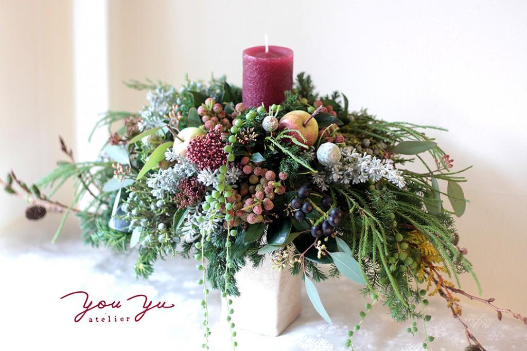 花のアトリエゆうゆ フラワーアレンジメント クリスマスのキャンドルアレンジメント